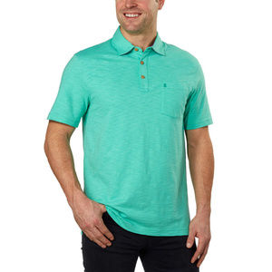 IZOD Mens Slub Short Sleeve Polo Shirt 2XL Green